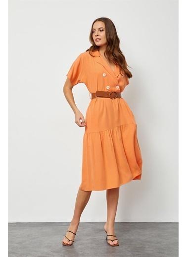 Setre Güneş Turuncusu Modal Rayon Düğme Detaylı Diz Altı Elbise Oranj